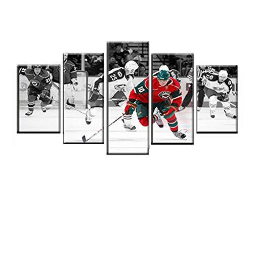 5 Stück Modulare Leinwand Hd Druckt Malerei Compétition Sportive De Hockey Dekor Rahmen Wohnzimmer Wandkunst Poster