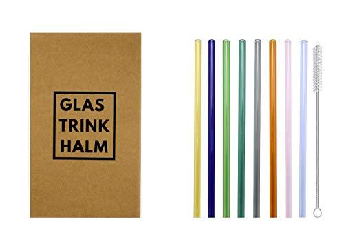 Set di cannucce in vetro 'Lang & Colorig', composto da 8 cannucce colorate lunghe da 21 cm x 8 mm Φ. Sostenibile, insapore e lavabile in lavastoviglie. In bella confezione, ideale da regalare.