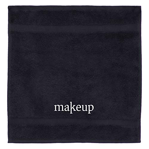 Chakir Turkish Linens 100% Cotton Luxury Hotel & Spa Turkish Make up Washcloth Set, 13'' X 13 '', Black