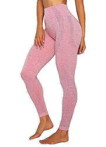 INSTINNCT Damen Yoga Lange Leggings Slim Fit Fitnesshose Sporthosen #4 Klassische Stil - Rosa L