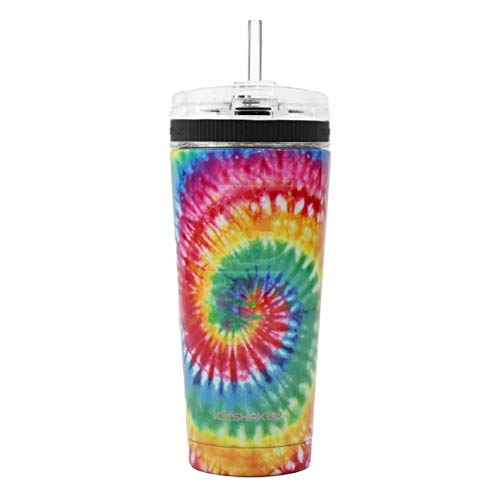 Ice Shaker 26oz Stainless Steel Tumbler as seen on Shark Tank   Vacuum Insulated Bottle with Flex Lid and Straw for Hot and Cold Drinks (Tie Dye)   Gronk Shaker