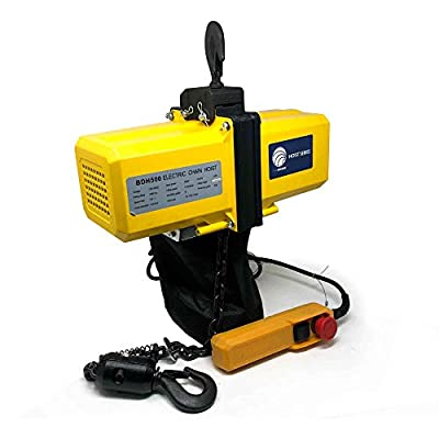 Five Oceans Lift Electric Chain Hoist Single Phase Overhead Crane Garage Ceiling Pulley Winch Hook Mount with Remote Control (120V/60HZ- 1/2 Ton/1100LBS) FO-4335