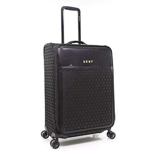 DKNY Signature Softside Spinner Luggage with TSA Lock, Jet Black, 25 Inch