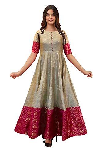 Mohtarma Women's South Indian Silk Gown Banarasi Model One Piece Maxi Long Dress for Girls Traditional Full Length Sungudi Anarkali Long Frock for Women Readymade Fullstiched Gaun