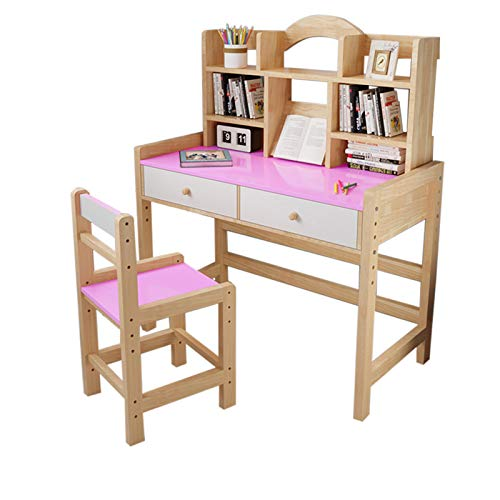 Multi Tiers Wooden Student Desk and Chair Set with Drawers and Bookshelves,Adjustable Height Desktop Computer Desk,Multifunction Minimalist Study Workstation for Home&Office (C)