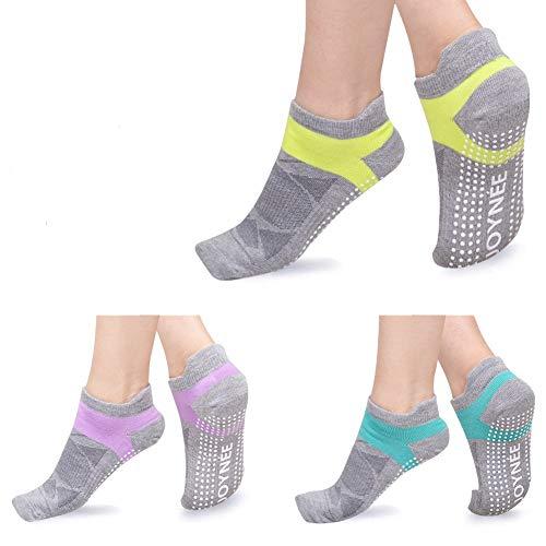 JOYNÉE Non-Slip Yoga Socks for Women with Grips,Ideal for Pilates,Barre,Dance,Hospital,Fitness 3 Pairs,Sock Size 9-11,Grey2