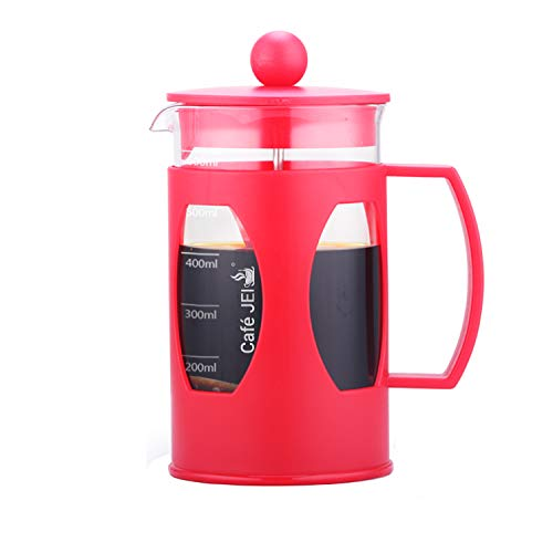 Cafe JEI French Press Coffee and Tea Maker 600ml with 4 Level Filtration System, Heat Resistant Borosilicate Glass (Red, 600ml)