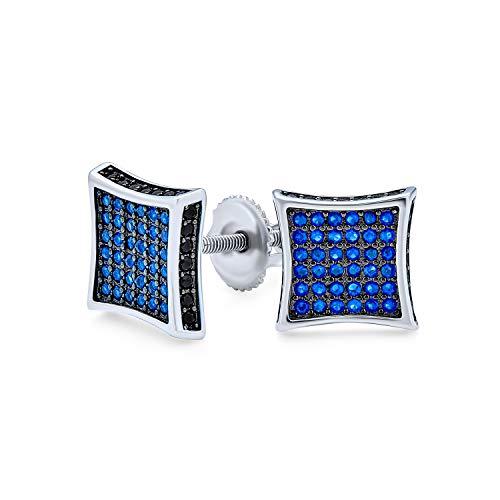 Negro azul cúbico Zirconia Micro Pave CZ cuadrados pendientes para hombres simulado zafiro plata esterlina tornillo 9MM