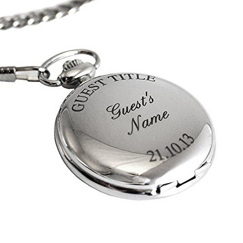 Gift Cookie Personalizado Acabado En Plata Reloj De Bolsillo, Cadena y Caja Novio, Padrino, Padre, Favor De La Boda, De San valentín Día, Cumpleaños