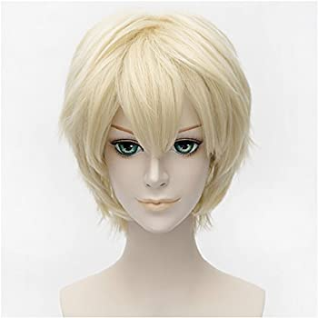 Flovex Short Straight Anime Cosplay Wigs Natural Sexy Costume Party Daily Hair  Blonde 1
