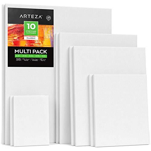 ARTEZA Lienzos blancos estirados e imprimados | Distintos tamaños: 12,7x17,7-27,9x35,5-30,4x40,6-40,6x50,8 cm | Pack de 10 lienzos | 100% algodón | Para acrílico, óleo y medios húmedos