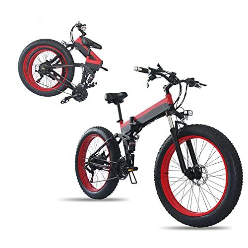 Bicicleta Eléctrica, Plegable Para Adultos De 26 'Bicicleta De Neumáticos Gruesos Motor De 800 W Amortiguador Completo Amortiguador Delantero Y Trasero Snowy Beach Mountain Ebike,Black red,36V8AH