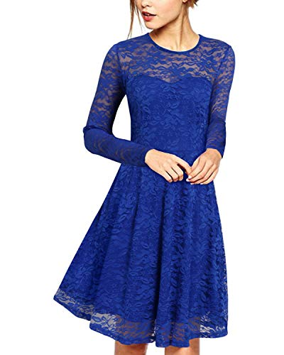 ZANZEA Damen Spitze Lace Party Cocktail Bodycon Club Lang Abend Minikleider Langarm Blau EU 38/US 6