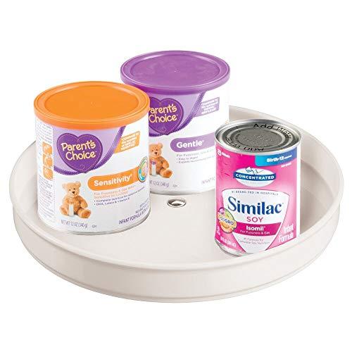 mDesign - Draaiplateau - bergruimte - voor speelgoed/babybenodigdheden zoals flesjes en fopspenen - stijlvol/rond/BPA-vrij plastic/roestvrij staal - crème