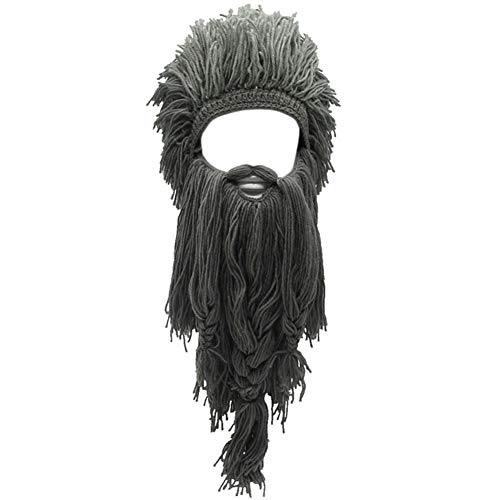 Creative Original Barbarian Knit Beard Hat Wig Beanie Hat Funny Knit Hat Beard Facemask, L-grey, One Size