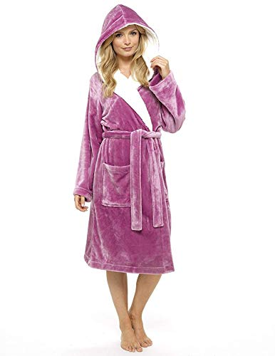 CityComfort® Bademantel Damen Super Soft Robe mit Fell gefütterte Kapuze Plüsch Bademantel für Frauen (small, Orchidee rosa)