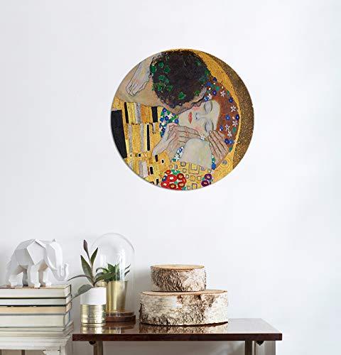 Bilderdepot24 Bild auf Leinwand Alte Meister   Gustav Klimt - Der Kuss (Detail) in 50 cm Ø als rundes Wandbild   Wand-deko Dekoration Wohnung modern Bilder   180160