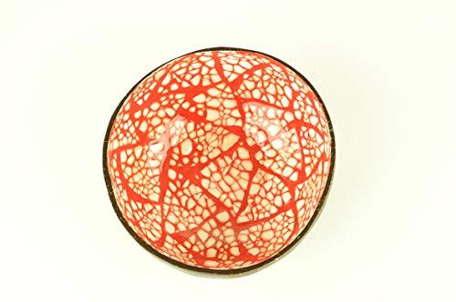 Bol décoratif fait à la main en bois naturel rond avec peinture laquée brillante incrustée de coquilles d'œuf, fruits et bonbons rouges et blancs H005