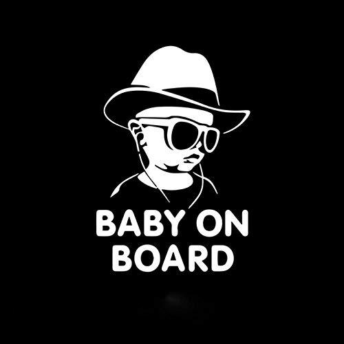 JKGHK Pegatinas de coche Gota Envío Bebé a bordo Divertido Gafas de sol reflectantes Pegatinas de bebé y calcomanías Vinilo Car Styling 12x17cm-Silver_12X17cm