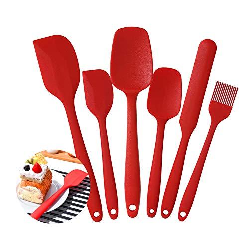 Set di Spatole in Silicone, Kit di Pennello in Silicone da Pasticceria, Resistente al Calore Antiaderenti Utensili da Cucina, Compreso Cucchiaio in Silicone, Pennelli da Cucina ecc, Set 6pcs(Rosso)