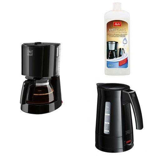 Melitta, Filterkaffeemaschine + Melitta 192618 Flüssigentkalker für Filtermaschinen, 250 ml, Anti Calc + Melitta Enjoy Wasserkocher Aqua