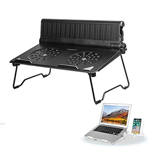 COOSKIN Lightweight Ventilated Laptop Desk Stand with Adjustable Phone Stand Holder Foldable & Portable Riser Compatible 13-17 inch Notebook Base Holder (Black)