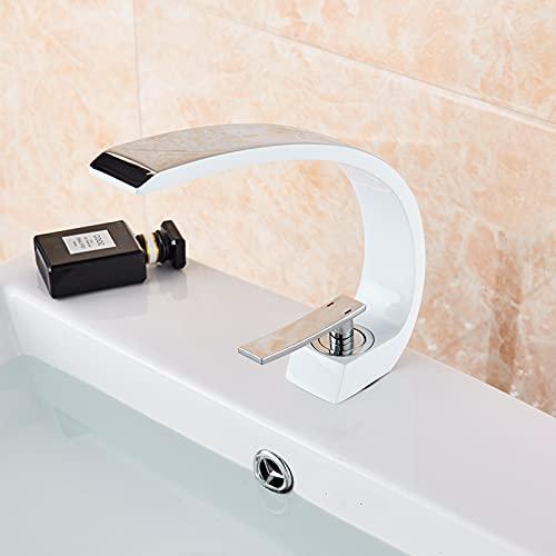 FGHHT Grifo de Lavabo de baño Blanco para Fregadero de recipientes Grúa de Lavado Montado en Cubierta Interruptor de Agua Caliente y fría Grifos mezcladores de Agua