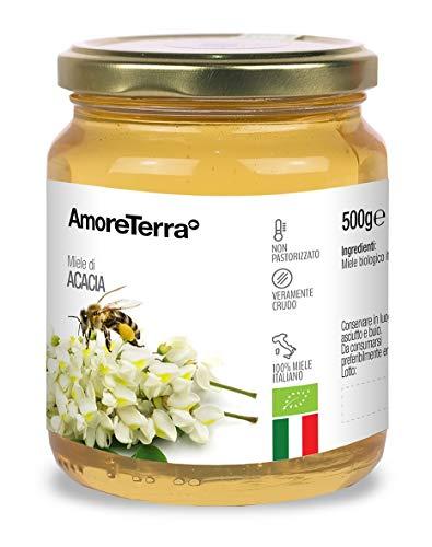 AmoreTerra, Miele Acacia Biologico crudo, 500g, bio, il miglior miele italiano, di alta qualità da Arnie in territori incontaminati