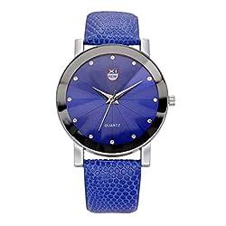 MERSDW Wristwatch, Angled Mirror Ladies Belt Watch Simple Fashion Pointed Glass Point Diamond Scale Quartz Belt Ladies Watch Meridian Ray Quartz Watch Female Fashion Watch (Blue)