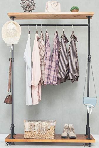 BIXIRAO Industrial Pipe Clothing Rack on Wheels, Rolling Iron Garment Racks with Solid Wood Shelves, Commercial Residential Heavy Duty Steampunk Clothes Rack Retail Display for Home