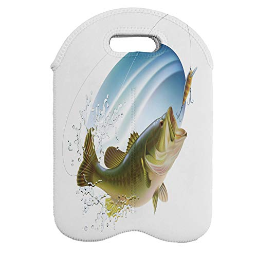 Ambesonne Fishing Wine Bottle Carrier, Largemouth Sea Bass Catching a Bite in Water Spray Motion Splashing Wild Image, Portable Neoprene Bag for Champagne and Water Bottles, 2 Bottles, Green Blue