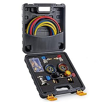 Orion Motor Tech 4 Way AC Gauge Set AC Manifold Gauge Set for R410a R22 R134a Refrigerant 4 Valve Automotive AC Gauges with 5ft Hoses R410a Adapters Can Tap