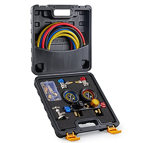 Orion Motor Tech AC Manifold Gauge Set for R410a R22 R134a Refrigerant, 4 Valve Automotive AC Gauge Set with Hoses Couplers Adapters, Puncturing Can Tap Freon Recharge Kit, Black Case