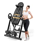 Popsport Premium Foldable Gravity Inversion Table 4.8ft to 6.1ft 300lbs Capacity Waist Inflatable