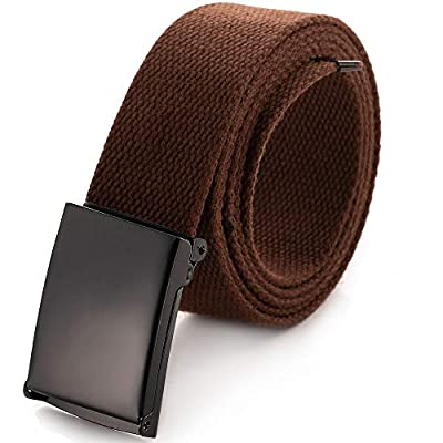"""Cut To Fit Canvas Web Belt Size Up to 52"""" with Flip-Top Solid Black Military Buckle (Brown)"""