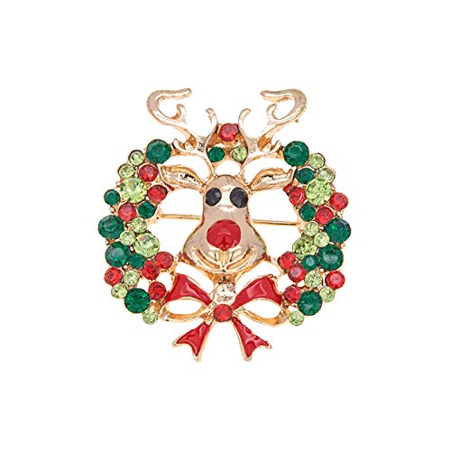 Rexinte Christmas Elk Brooch Pin Cute Crystal Diamond Enamel Christmas Decorations Ornaments Gift for Girl Women