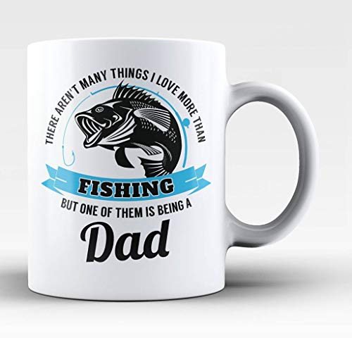 Papa houdt van vissen - 11-Oz grappige visser vlieg vis Baiter Bass lokken haak forel koffie mok Cup gemaakt van wit keramiek met groot handvat is perfect cadeau idee voor papa, moeder, opa, papa en vaders dag