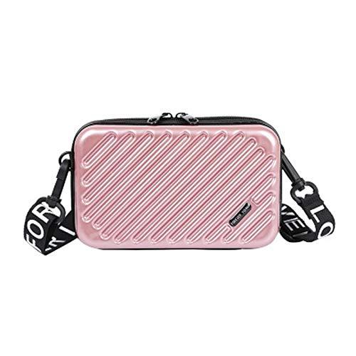 Alamy bolso de hombro para mujer-bolso diagonal de charol de cuero de pu-mini bolsa-bolsa de equipaje-estuche de cosméticos de cadena para mujer (Oro rosa, 12 * 18 * 5cm,)