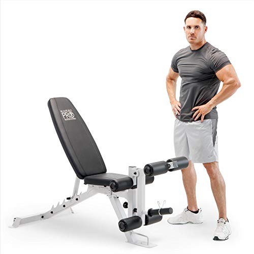 Marcy PM-5788 Powder Coated Steel Home Gym Multipurpose Multifunctional Adjustable Weight Bench for Total Body Workout, White