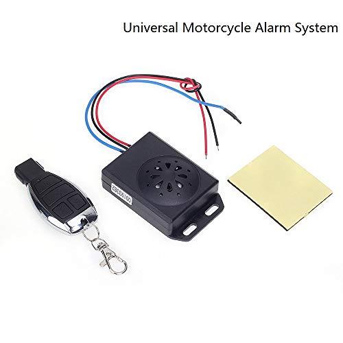 Xatan Universal Motorrad Alarmsystem Diebstahlsicheres Alarmsystem mit Fernbedienung DC 12V Schwarz
