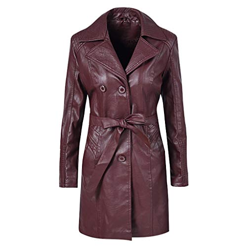 ITISME Giacca Pelle Ecopelle Donna Invernali Lungo Cerniera Addensare più Velluto Vintage Cappotto Cappuccio Trench Sciancrato Elegante Classico
