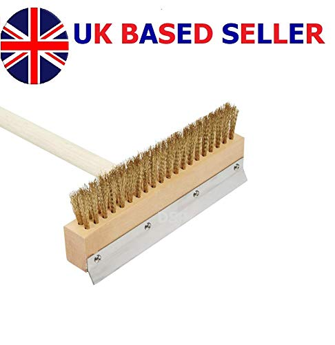 Pizza Oven Brush & Garden Secrets Wood Handle 30' Inch Brass Bristles & Steel Scraper