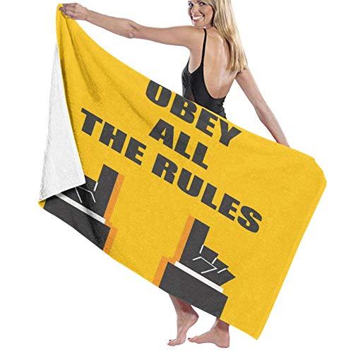 AIMILUX Toalla de Playa,Obedezca Todas Las Reglas Palabras Pautas de señales Advertencia de tráfico Tablero de atención,Toallas de Baño Toallas de Acampada Piscina Natación Playa Ducha