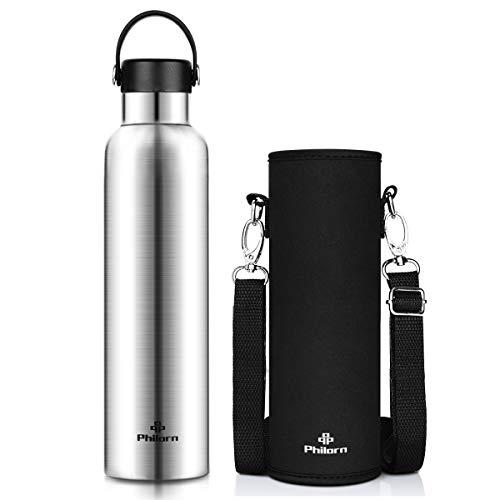 PHILORN Trinkflaschen 1000ML Thermosflaschen Rostfreier Stahl Thermoskanne Isolierflasche Isolierte Edelstahl Wasserflaschen 12 Stunden heiß halten mit 2 Kappen 1 Umhängetasche (Silber)