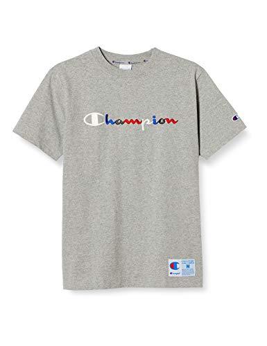[チャンピオン] Tシャツ 半袖 定番 ジョックタグ トリコロールカラー スクリプトロゴ刺繍 C3-H371 メンズ オックスフォードグレー M