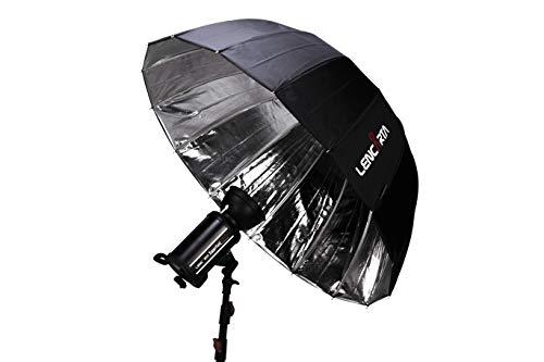 Ombrello da studio parabolico profondo riflettente argento per fotografia Ombrello pieghevole da 130 cm con illuminazione parabolica per studio fotografico Flash, fotografia di ritratto