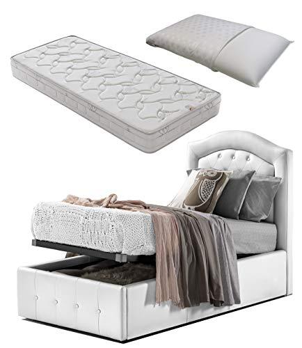 Cama individual de 1 plaza con caja de almacenamiento blanca diseño + colchón individual 80 x 190 Memory Foam + almohada de espuma viscoelástica