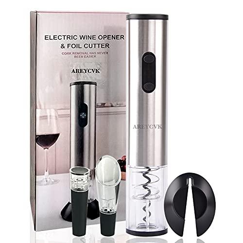 AREYCVK latest Wine OpenerElectric wine bottle opener BatteryPowered Electric wine openerwith Foil Cutter Stopper Wine Pourer The best choice for wine hobby(Stainless Steel)