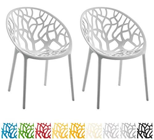 CLP 2er-Set Gartenstuhl Hope Aus Kunststoff I 2 x Wetterbeständiger Stapelstuhl Mit max. 150 KG Belastbarkeit, Farbe:grau