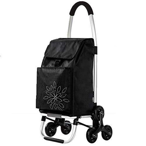 Handwagen Trolley Black Home Einkaufswagen Zusammenklappbarer Tragbarer Einkaufswagen Reisegepäck Kleiner Wagen Älterer Trolley Car 60L (Color : Black, Size : 45 * 44 * 100cm)